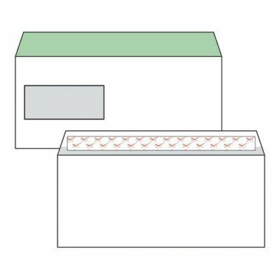 Boríték, Harmanec, LA/4, (110x220mm), szilikonos, bal ablakos (35X90mm), bélésnyomott,100 db/csomag