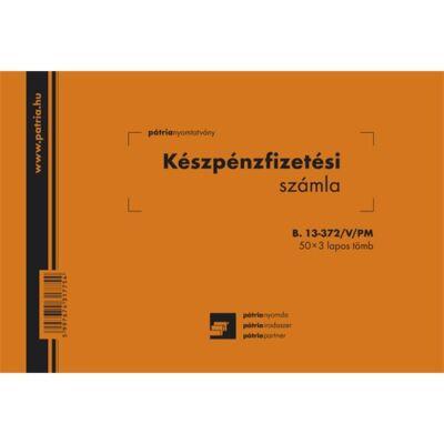 Készpénzfizetési számla B.13-372/V/PM, 50 x 3 lap