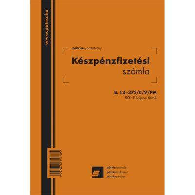 Készpénzfizetési számla B.13-373/C/V/PM, 50 x 2 lap