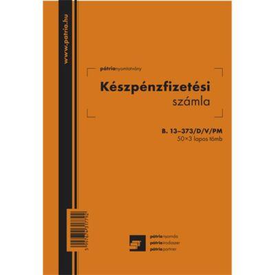 Készpénzfizetési számla B.13-373/D/V/PM, 50 x 3 lap, 2 áfa