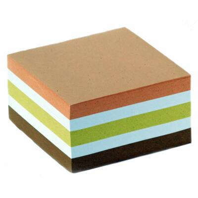 Jegyzettömb 8,5x8,5x4cm színes papír fején ragasztott