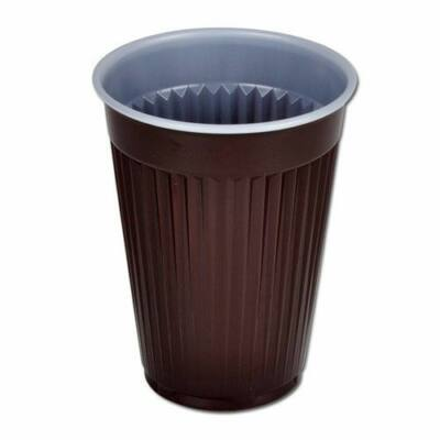 Pohár barna műanyag 1,6 dl autom. függőleges csíkkal [ 100 db/cs ] [ 30 cs/# ]