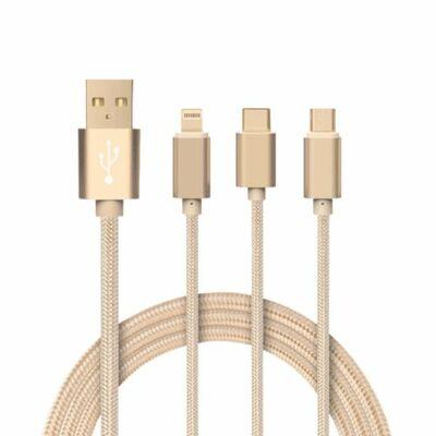 Apple Lightning utángyártott adat és töltő kábel 1 méter szürke színü