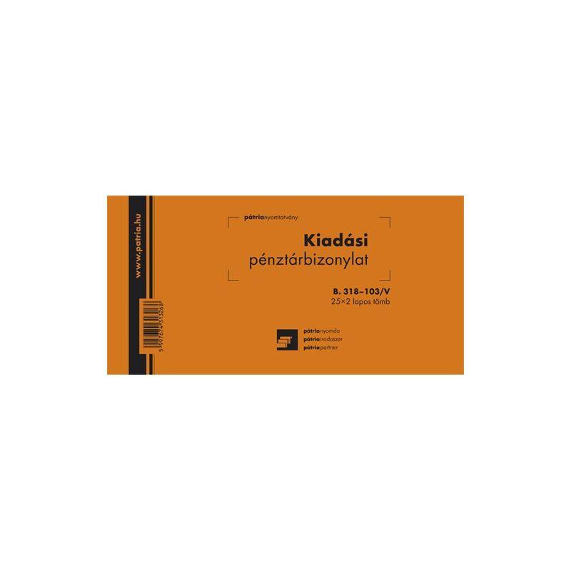 Kiadási pénztárbizonylat, B318-103/V, 25x2 lapos