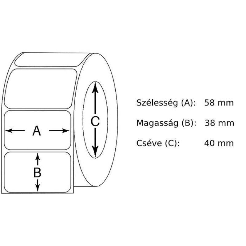 58x38 mm thermo öntapadós mérlegcimke 1000 cimke / tekercs